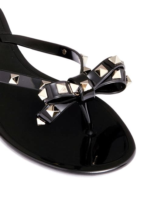 Jelly Flats Shoes 2 valentino rockstud bow flat jelly sandals in black for lyst