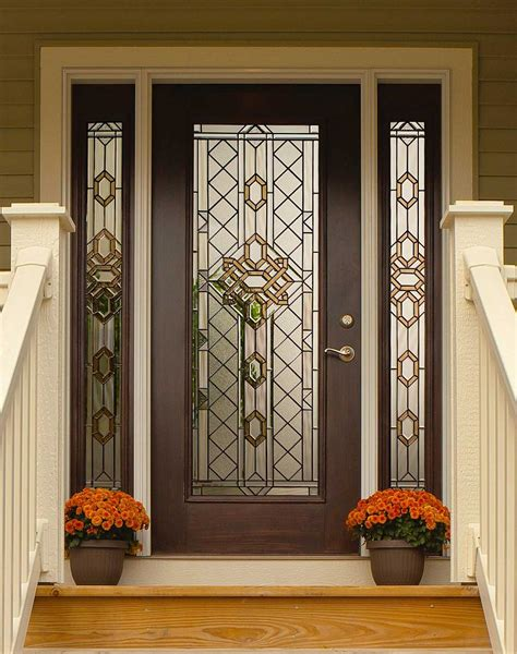 Decorative Patio Doors Great Design Beveled Glass Home Entry Door Featuring Brown Windows And Doors For Home