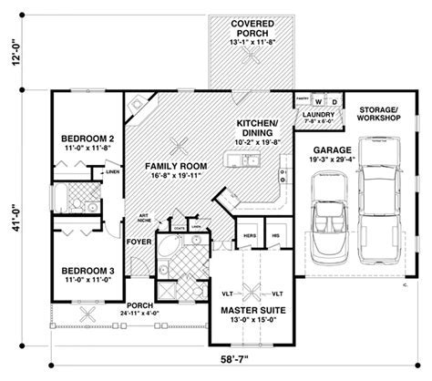 Ranch Style House Plan   3 Beds 2 Baths 1457 Sq/Ft Plan