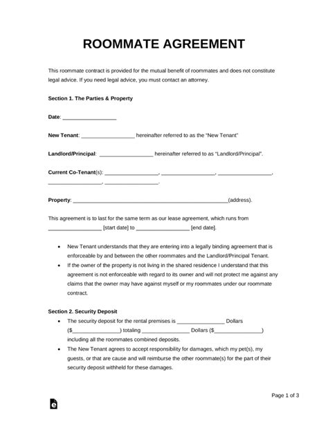 Free Roommate Room Rental Agreement Template Pdf Word Eforms Free Fillable Forms Roommate Rental Agreement Template
