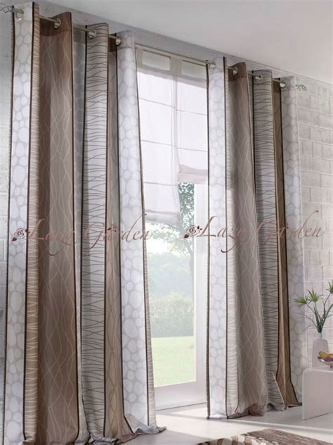 grey and brown curtains free shipping european style pattern printed eyelet