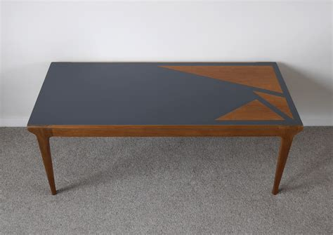 Mid Century Solid Wood Coffee Table Upcycled Painted Grey Painted Wood Coffee Table