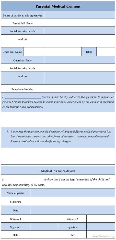 parental medical consent form sle parental medical