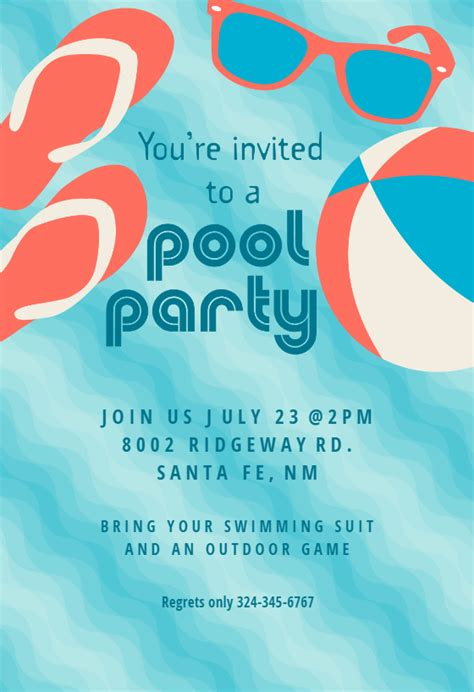 pool party stuff pool party invitation template   island