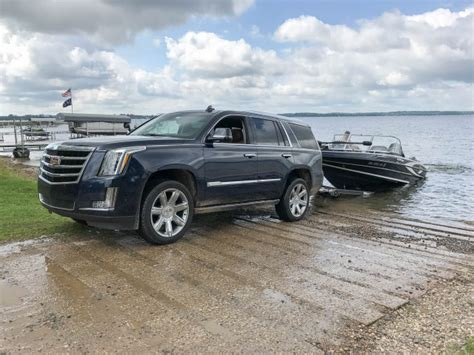 cadillac escalade 2017 lifted towing a boat with the 2017 cadillac escalade 6 things