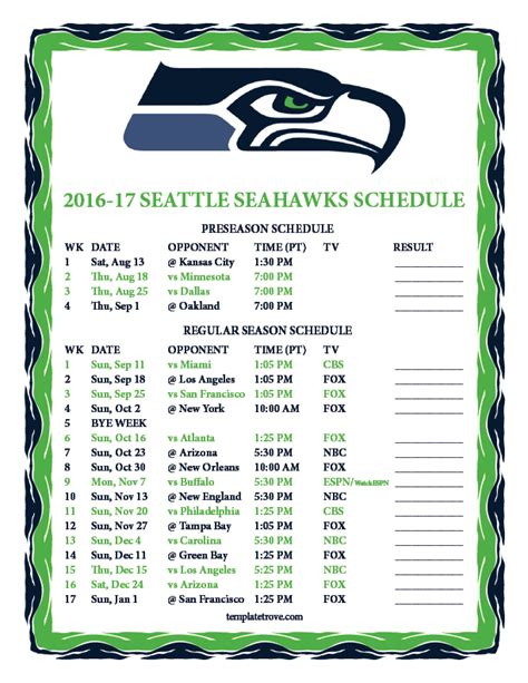 Printable Seahawks Schedule 2017 printable 2016 2017 seattle seahawks schedule