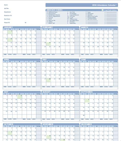 Free Printable Employee Attendance Calendar 2018 Pertamini Co 2018 Employee Attendance Tracker Calendar Printable Calendar 2018