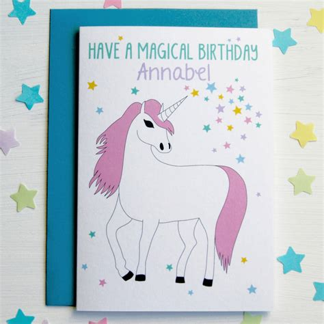printable birthday cards unicorn unicorn personalised birthday card by superfumi