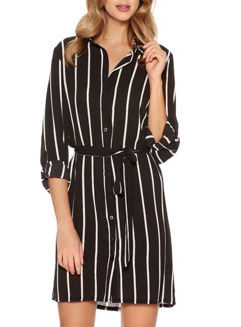 quiz black crepe stripe belt shirt dress in black lyst