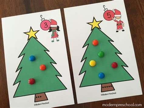 printable christmas number cards christmas tree counting number cards