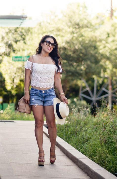 Crop Mu S Tanpamu Hitam fashion lace shoulder crop top distressed denim shorts
