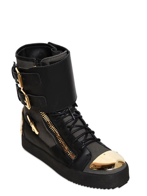 and black sneakers lyst giuseppe zanotti leather and canvas buckle sneakers