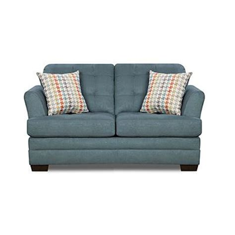 simmons velocity sectional simmons velocity denim loveseat with fairhope cornflower