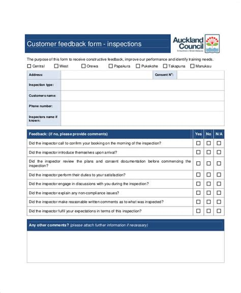 customer feedback form template 8 sle customer feedback forms sle templates