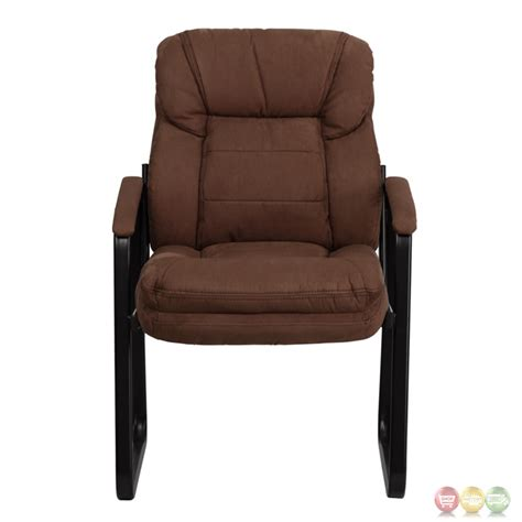brown microfiber office chair brown microfiber executive side chair with sled base