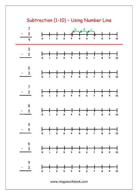 printable number line worksheets subtraction using number line http www megaworkbook com
