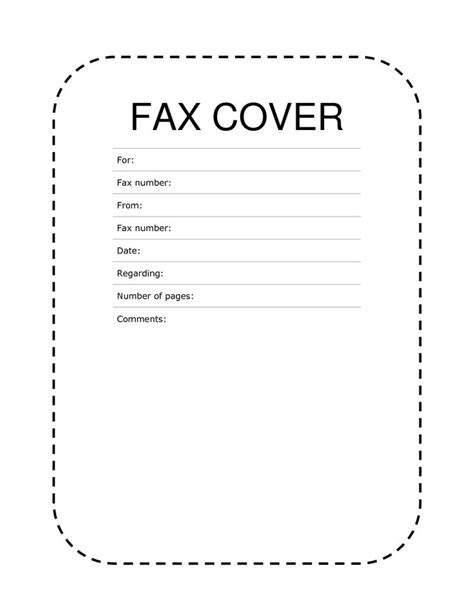 fax document template fax cover sheet dashed lines fax cover
