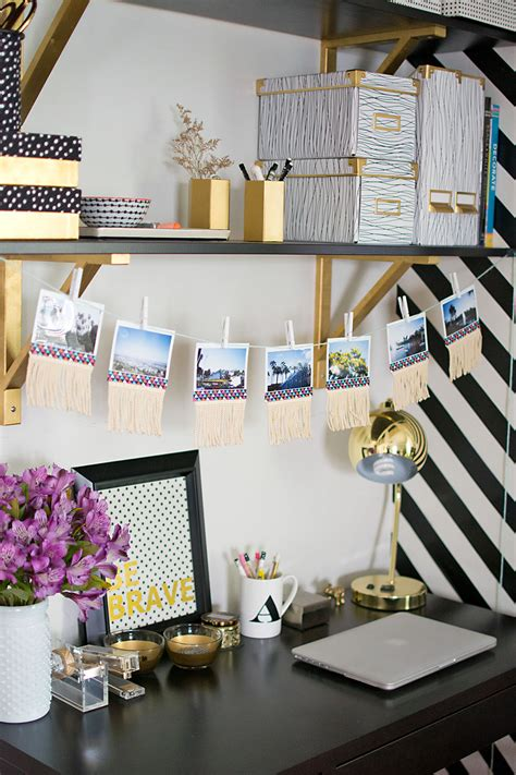 how to decorate your desk at home diy fringe photo garland pbteen blog