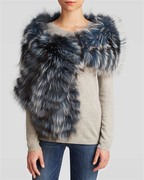 large fox fur scarf in black lyst