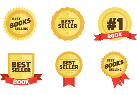 best books free best sellers book badges vector free vector