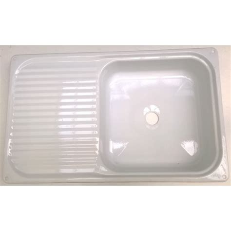 enamel sink with drainer white