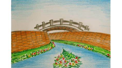 how to draw a scenery boat in river drawn scenery river pencil and in color drawn scenery river
