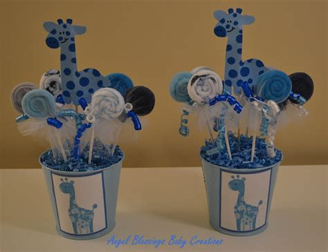 Giraffe Centerpieces For Baby Shower by Giraffe Baby Shower Centerpiece With Washcloth Lollipop Favors