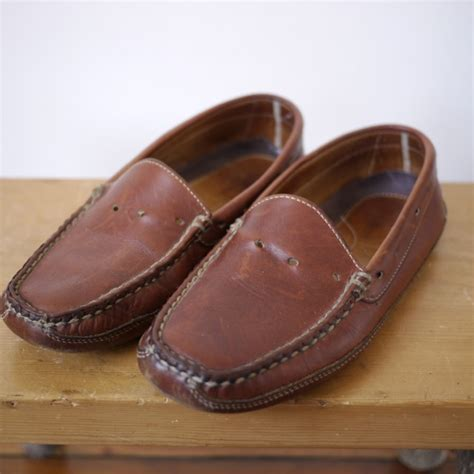 ll bean mens leather slippers vintage ll bean mens loafer driving moccasin brown leather
