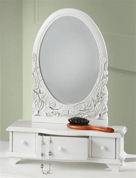 Vanity Table With Jewelry Storage by New Wooden Vanity Dresser Table Top Mirror Cosmetic