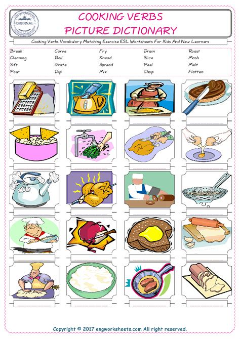 Cooking Vocabulary Worksheet by Cooking Verbs Vocabulary Matching Exercise Esl Worksheets For And New Learners