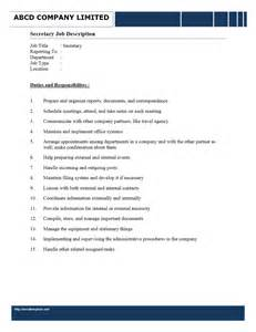 secretary job description word templates free word