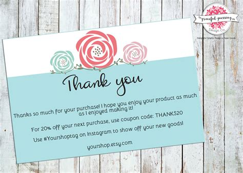 Order Thank You Cards Printable Etsy Shop Cards Package Insert Cards Small Business Product Insert Card Template