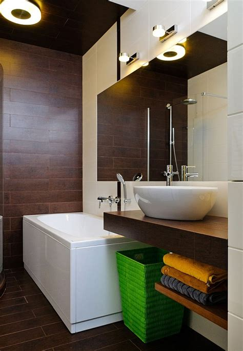 brown tiled bathrooms contemporary apartment in ukraine with stylish furniture