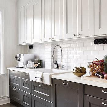 transitional kitchen with gray cabinets and farmhouse sink white kitchen cabinets with black apron sink