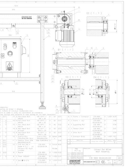 cad drawing belt conveyor design diy belt conveyor free