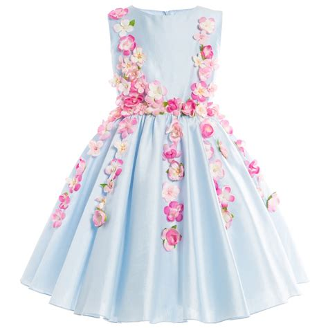 Dress Pink Blue Flower lesy blue cotton sateen dress with pink flowers