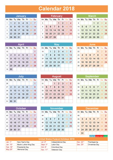 printable calendar year 2018 2018 calendar with holidays printable as pdf and image