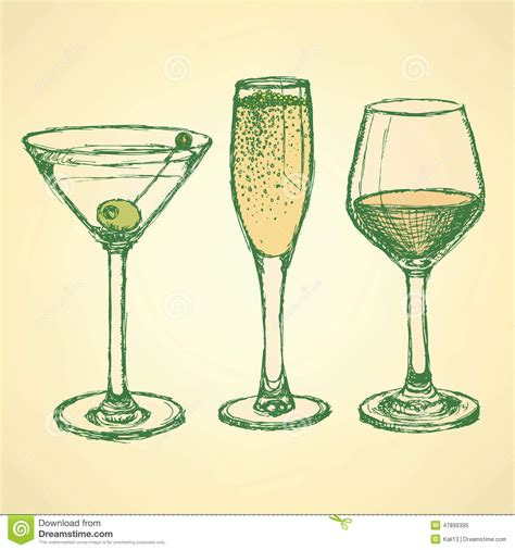 vintage martini illustration sketch martini chagne and wine glass stock