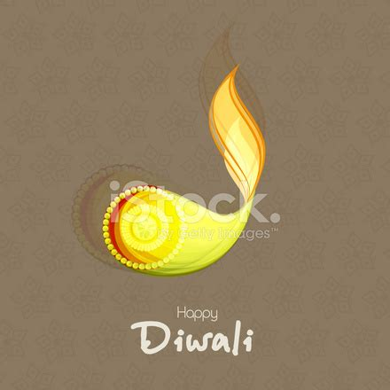 diwali greeting design with colorful illuminated oil lit