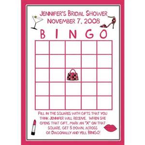 24 bridal shower bingo cards pink