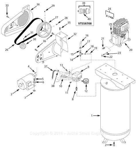 air compressor parts diagram cbell hausfeld vt558708 parts diagram for air