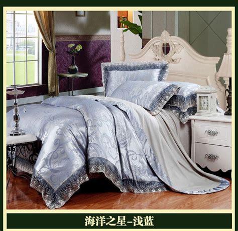 home design brand bedding blue brand lace satin jacquard luxury bedding comforter
