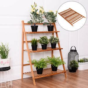 folding  tier bamboo flower plant pot shelf stand display