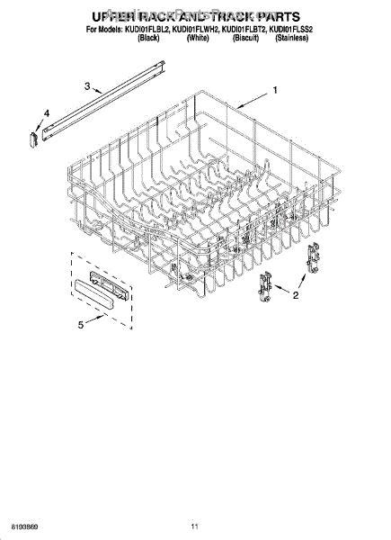 parts for kitchenaid kudi01flss2 rack and track