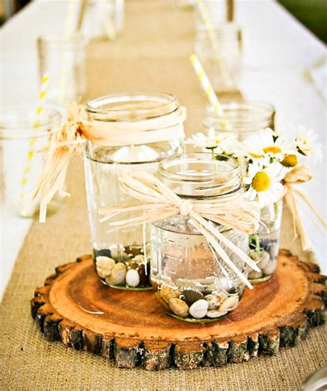 jar and wood centerpieces jar and wood wedding centerpiece with burlap ipunya