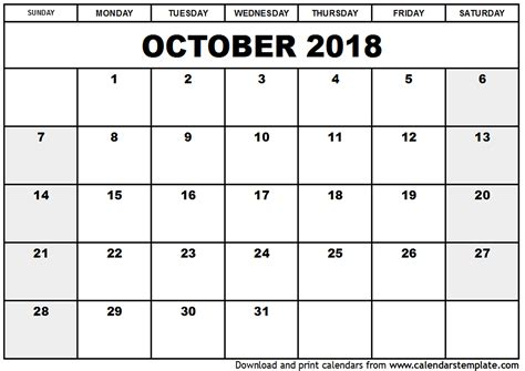 printable calendar october 2018 october 2018 calendar template