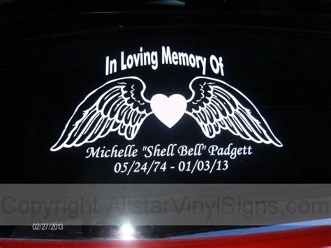 Memorial Stickers For Car Windows memorial vinyl window decals in loving memory of car