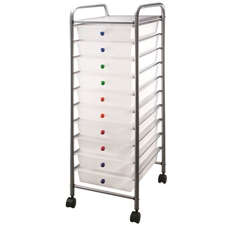 Clear Drawers by Clear 10 Drawer Cart With Colored Knobs Jo