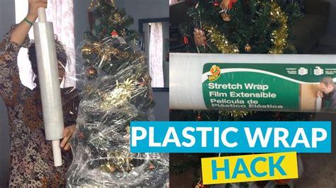 tree hacks plastic wrap christmas tree storage youtube