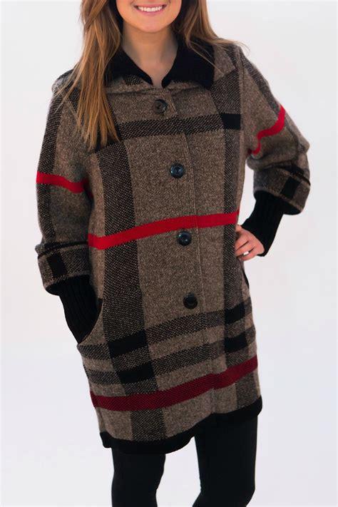 plaid sweater koren moda plaid sweater coat from philadelphia by timeless styles shoptiques